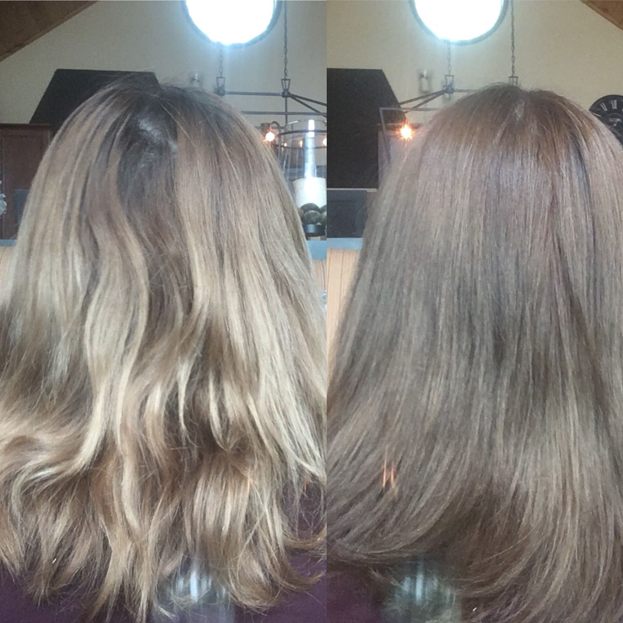 Before And After Wella Colour Gel Permanent Dye 7a672 Medium Smokey Ash Blonde Medium Blonde Hair Wella Hair Color Mousy Brown Hair