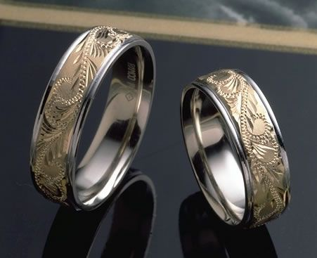 Hand Carved Gold Wedding Band With Paisley Design In Two Colors
