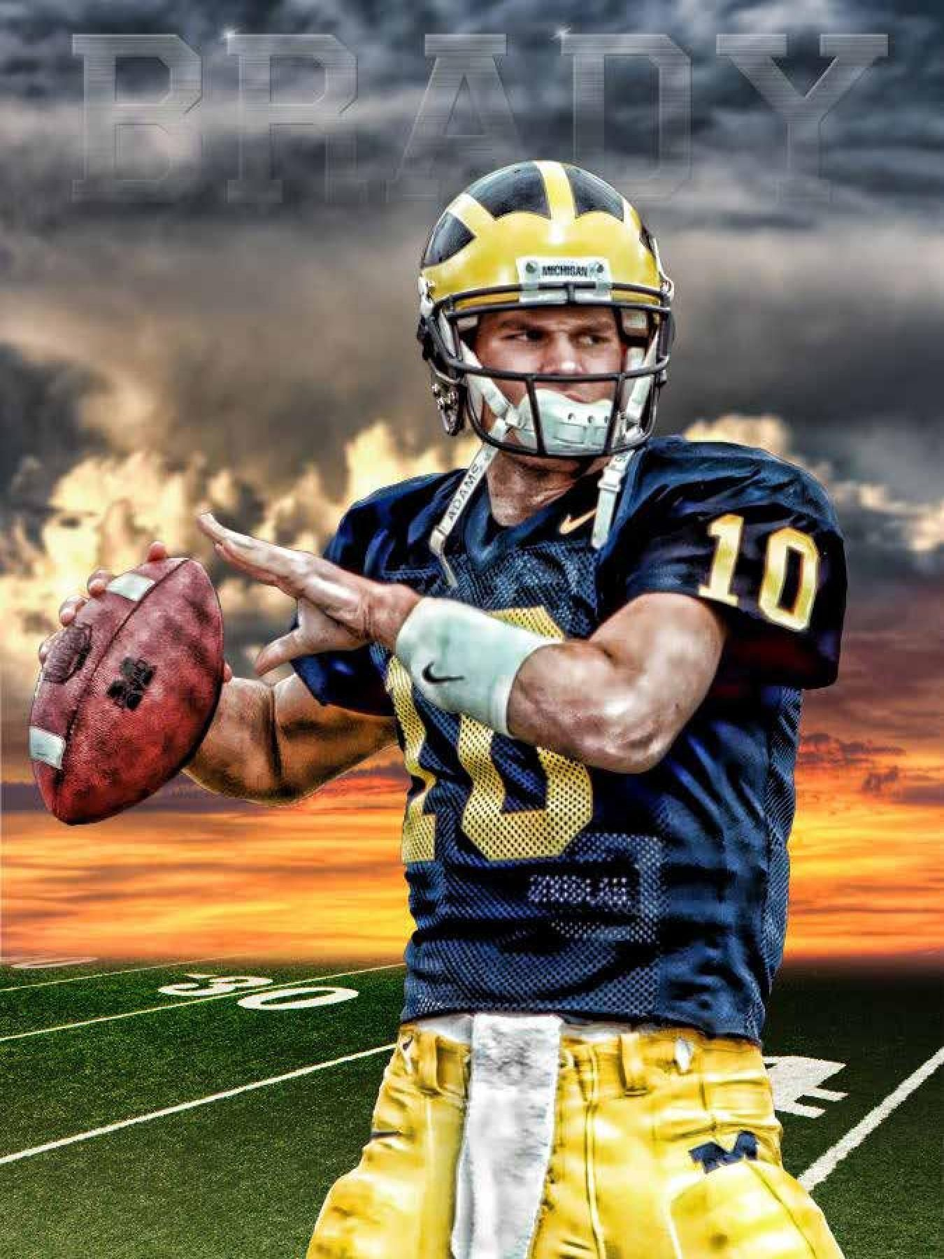 Michigan Wolverines Tom Brady Sunset 24x18 Football Poster