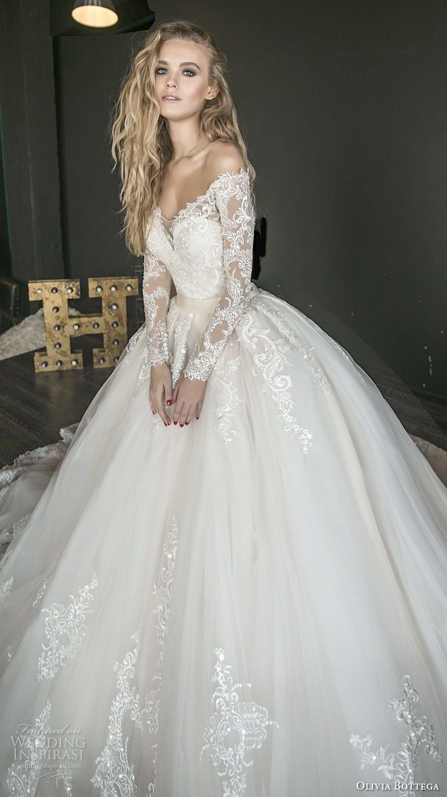 Wedding dress long sleeve  olivia bottega  bridal long sleeves off rhe shoulder sweetheart