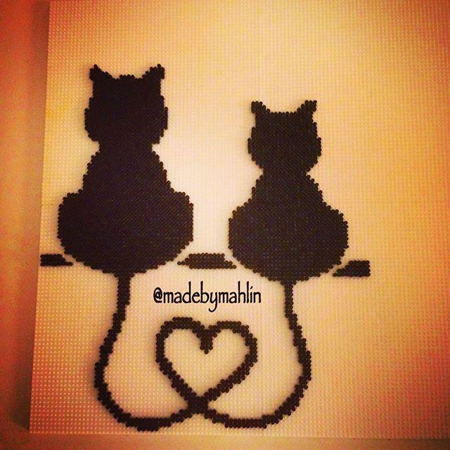 Cats love hama mini beads by madebymahlin | Craft Ideas