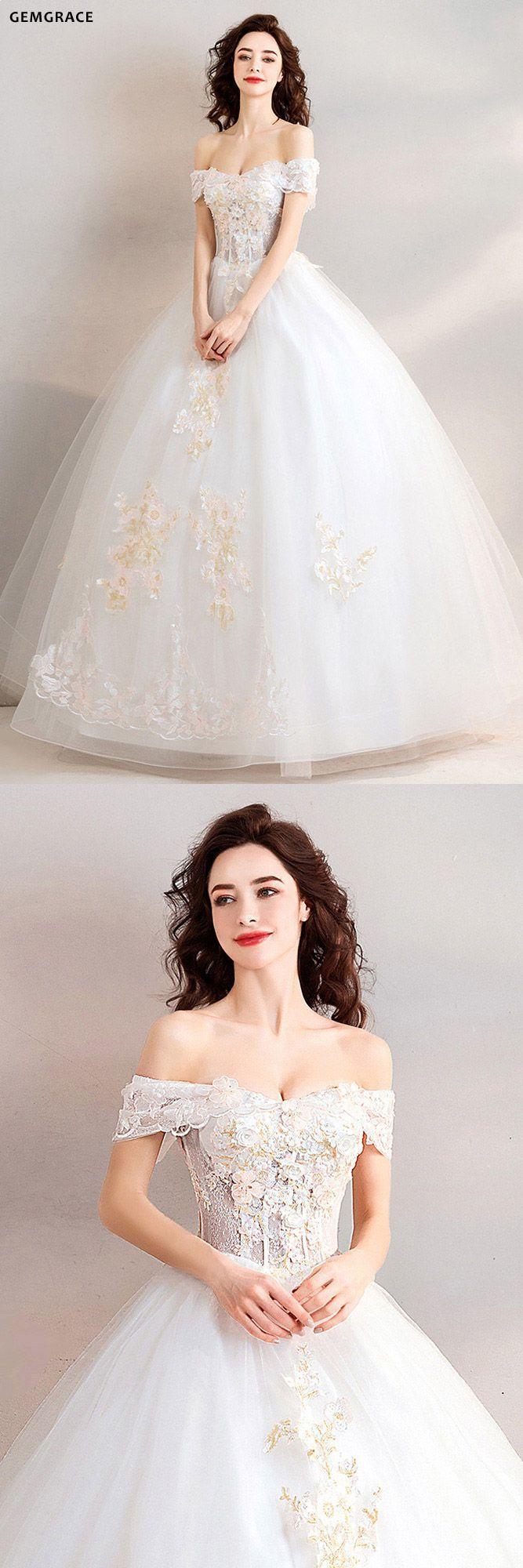 Elegant Off The Shoulder Wedding Dresses 3D Flora