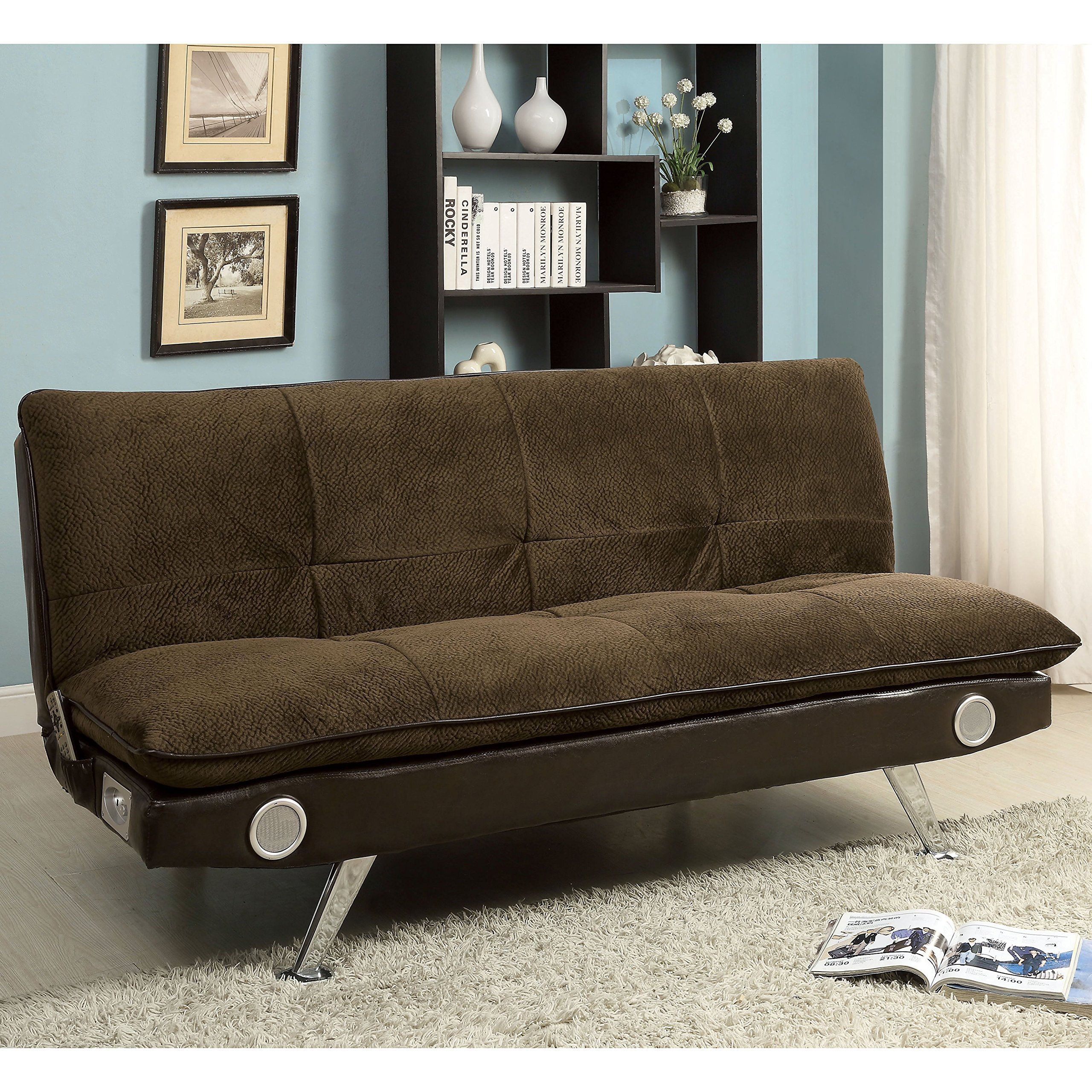 furniture of america thrain modern 2tone futon sofa with bluetooth