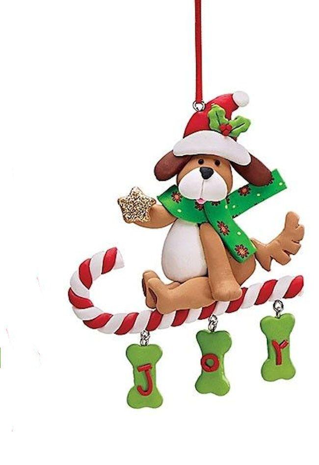 Christa Lynn Boxer Dog w Santa Hat /& Scarf Christmas Tree Ornament NEW resin