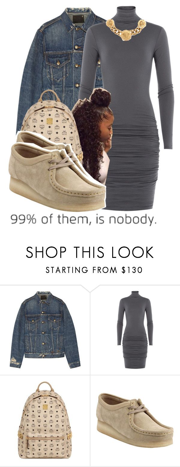 """""""My birthday was yesterday"""" by brianna-pina ❤ liked on Polyvore featuring R13, Velvet, MCM, Clarks and Versace"""