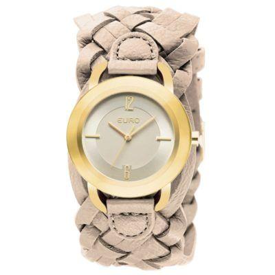 170b46bd3c5 relogios euro femininos pulseira de couro entrelaçada