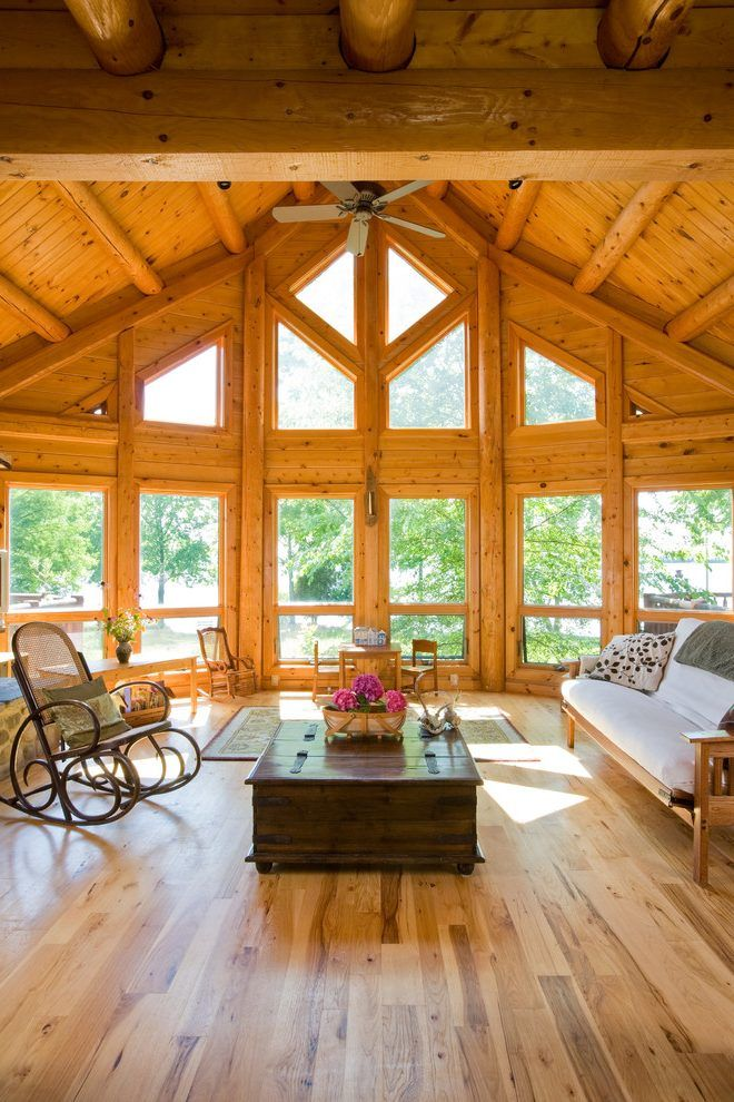 Triangle window living room traditional with ceiling fan for Vaulted ceiling great room