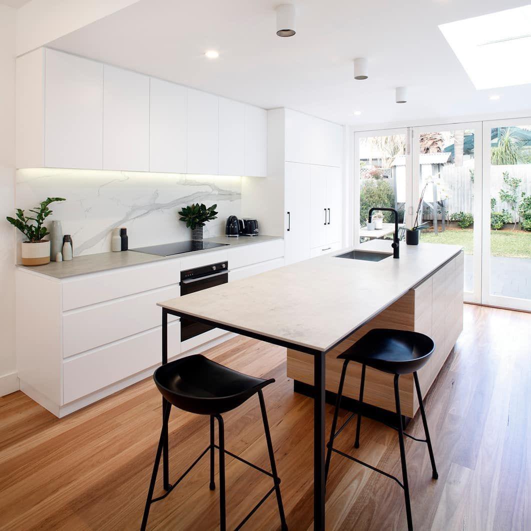"A Matte Black Kitchen Makes A Bold Statement In This: Houzz Australia On Instagram: ""Matte Black Stools, Paired"