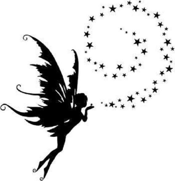 fairy blowing stars silhouette decal wall art tumbler