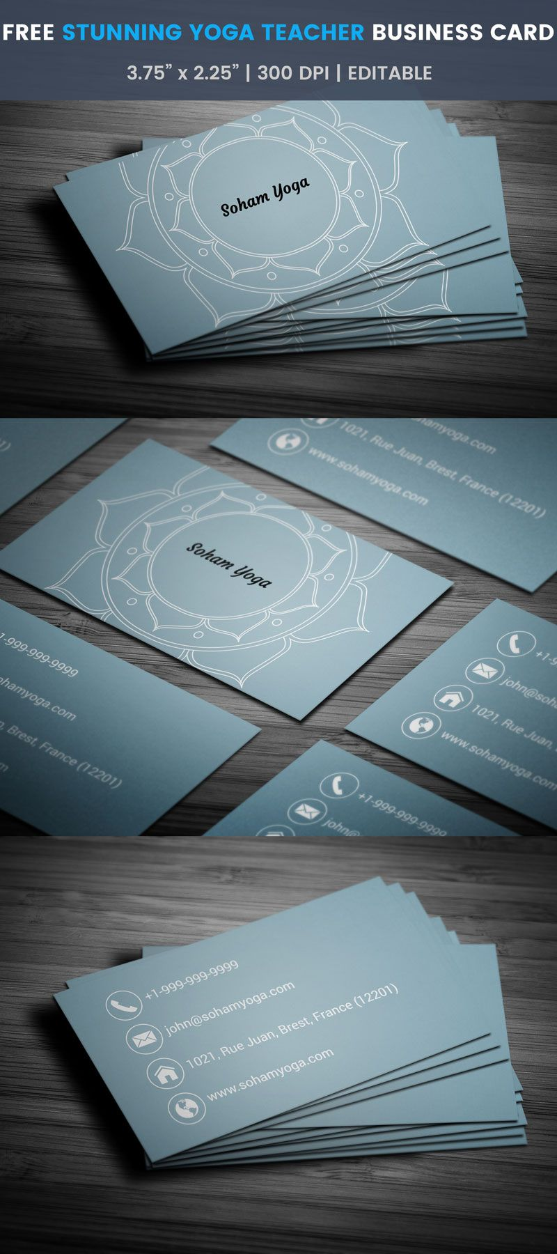 Yoga teacher business card full preview free business card free stunning yoga teacher business card template download reheart Image collections