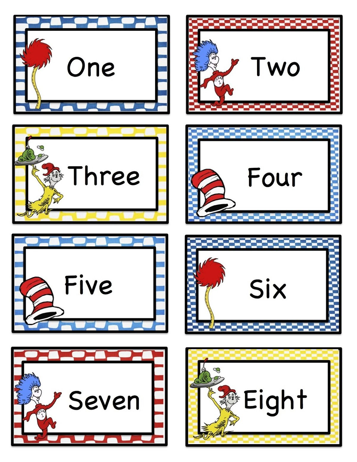 Number Word Chart Pictures