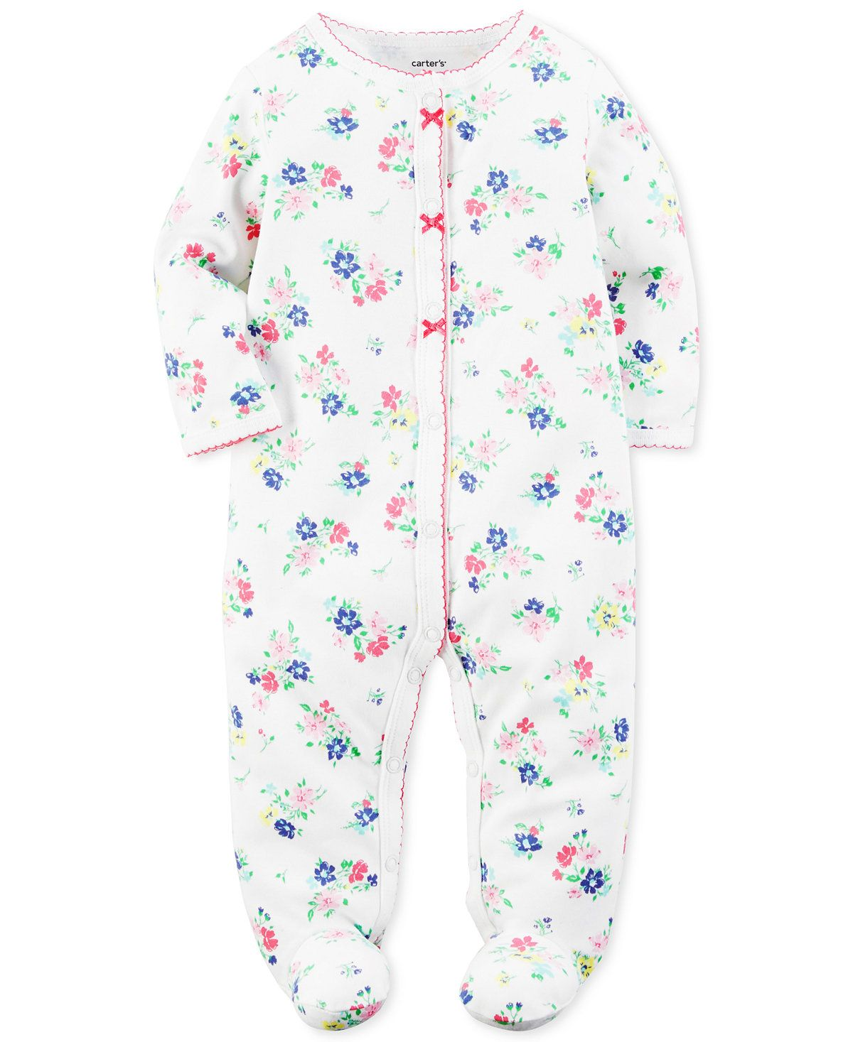 19eb2a6c0c0e Carter s 1-Pc. Floral-Print Footed Coverall