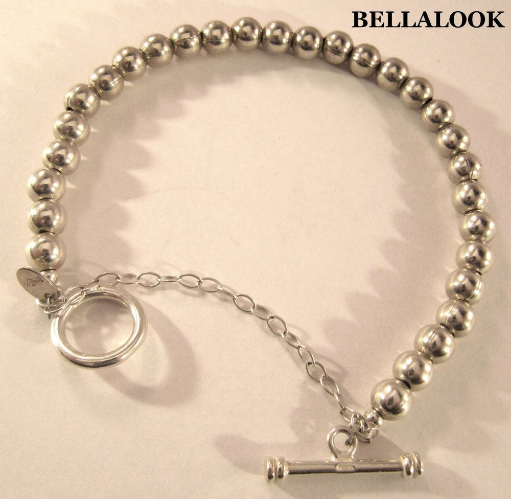 Silpada B0059 Sterling Silver 6mm Bead Ball Toggle Clasp Safety Chain Bracelet Beaded