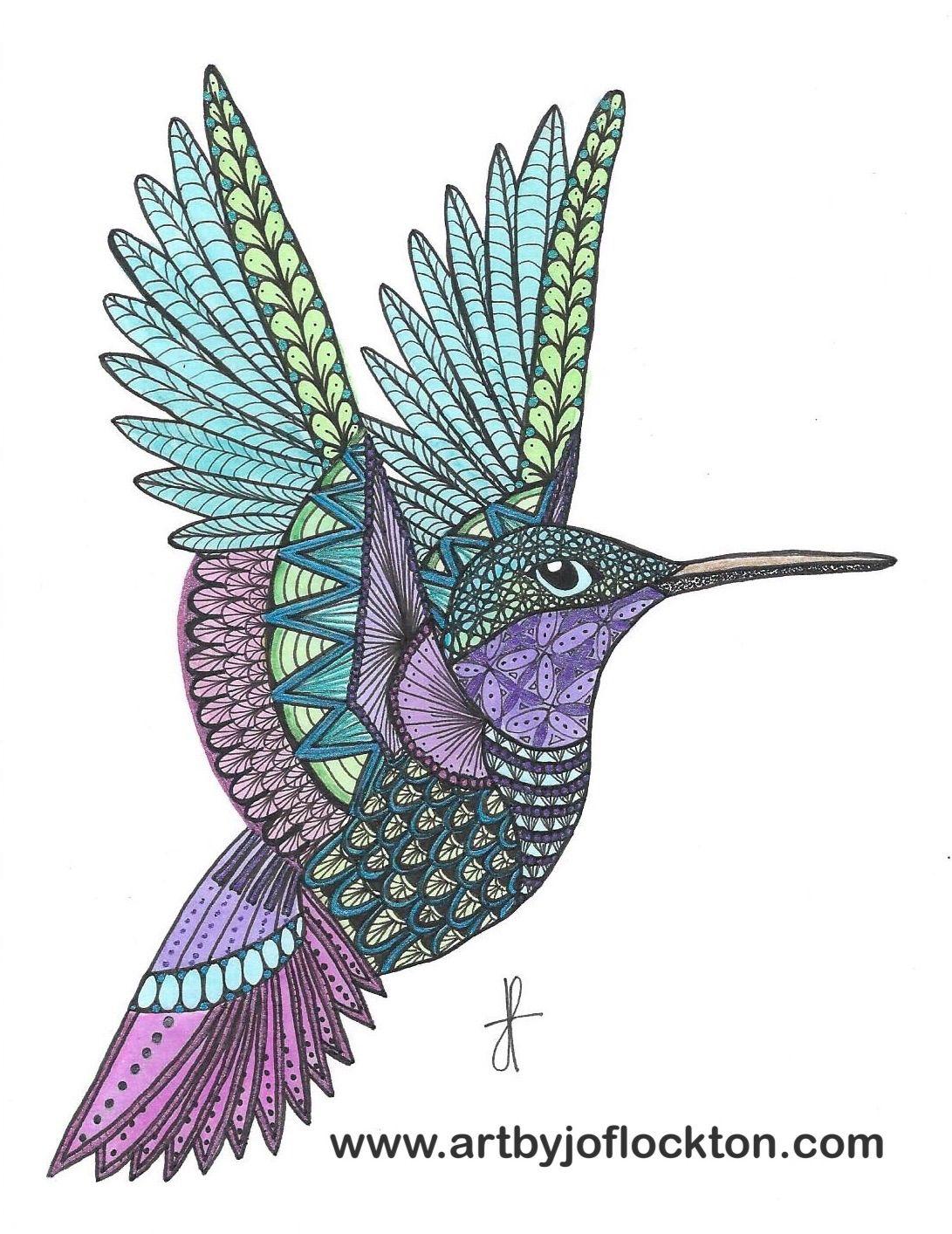 Tangled Metallic Hummingbird Using Ben Kwoks Template Ornation