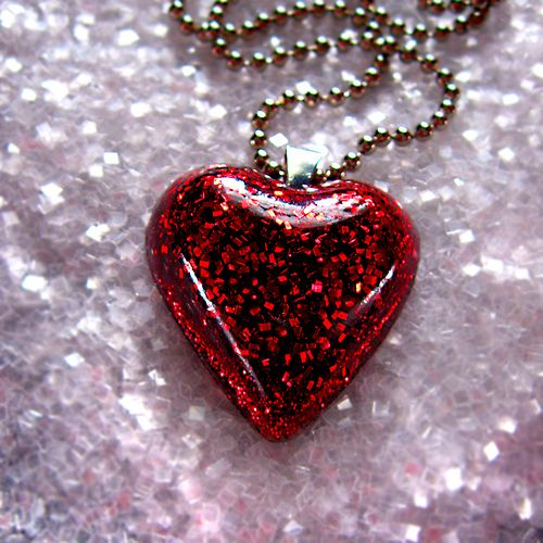 5f9f8f1e3424 red glitter heart resin necklace... pretty as Dorothy s ruby slippers