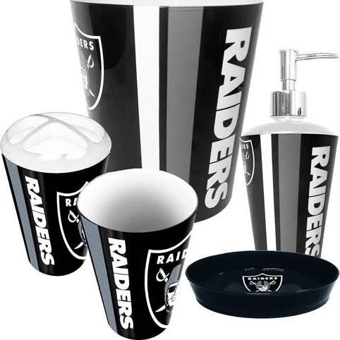 Oakland Raiders Nfl Complete Bathroom Accessories Set 5 Pc