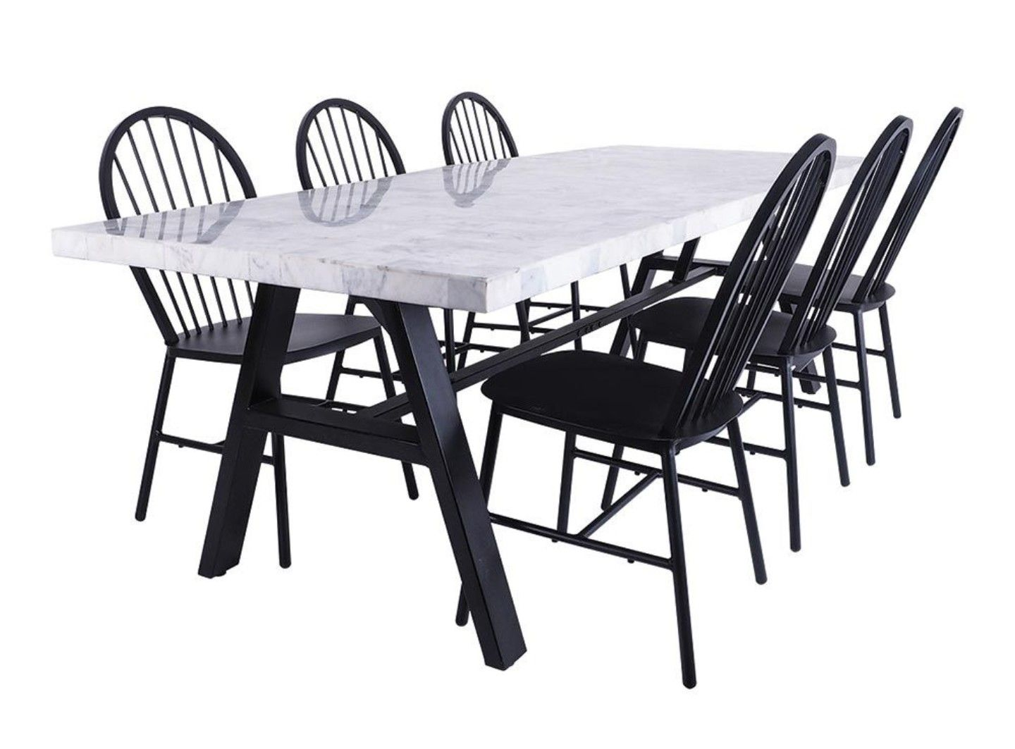 Surprising Marble Inlay 8 Seater Table With Harley Matt Black Aluminium Gamerscity Chair Design For Home Gamerscityorg