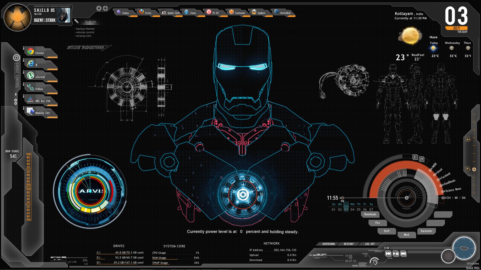 Shield Ironman Jarvis Rainmeter Theme Screenshot By Ferozkhanhamid Iron Man Hd Wallpaper Iron Man Wallpaper Live Wallpaper For Pc