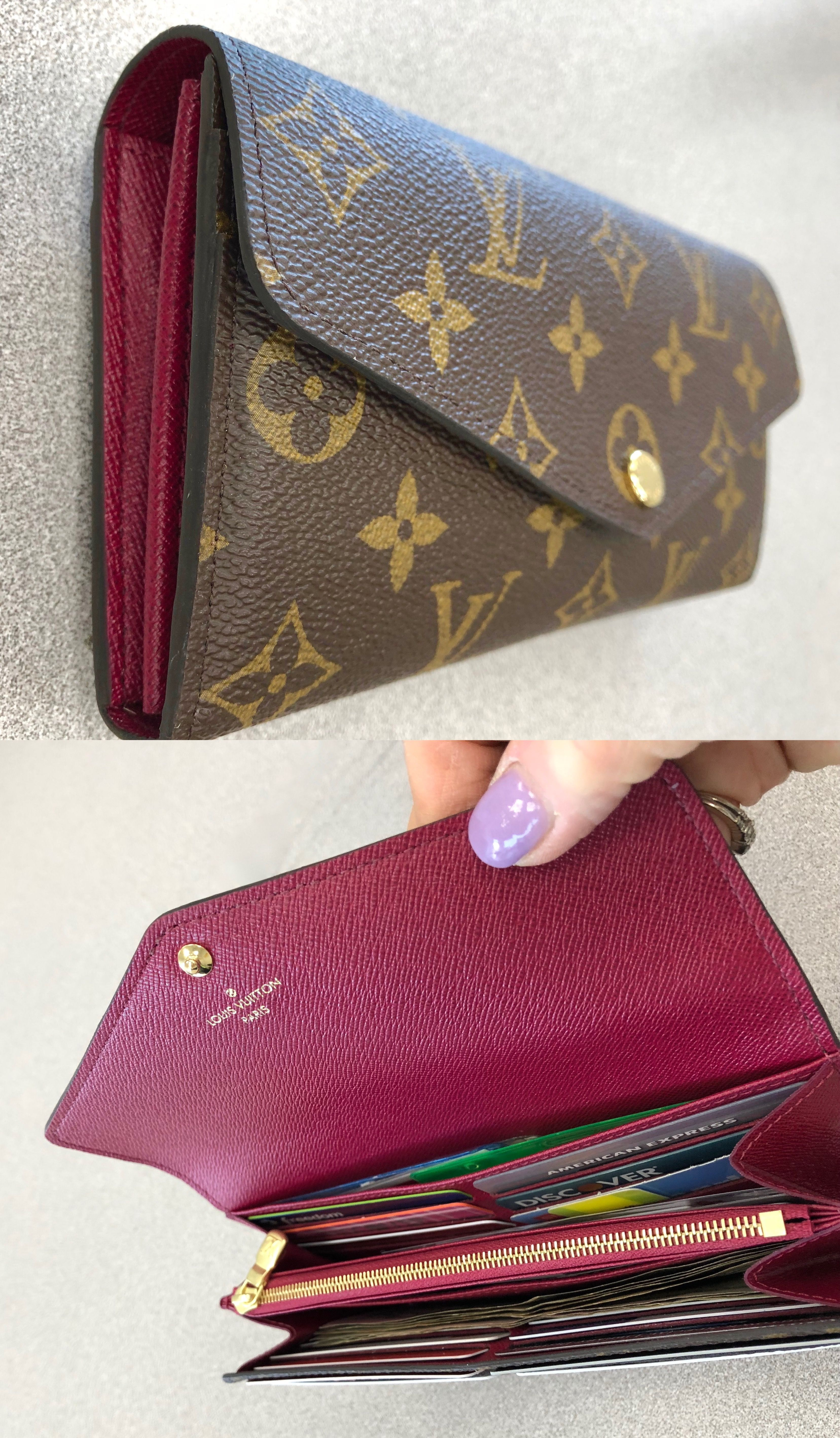 4e696528f5ee4 Louis Vuitton Sarah Wallet in Monogram and Fuchsia. LOVE how neat and  organized this wallet is! There are 16 credit card slots