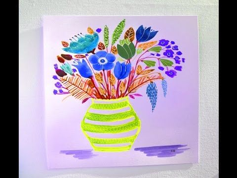 How to draw a flower vase with flower for kids easy step by step tut