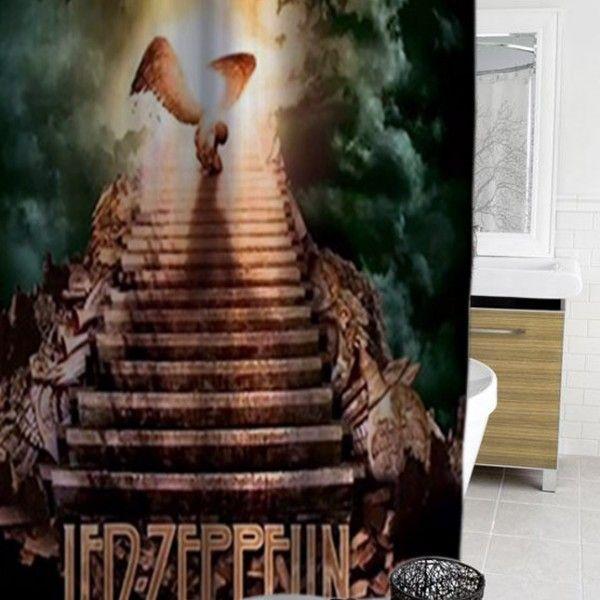 Led Zeppelin Rock Band Shower Curtain Showercurtain Showercurtains Curtains Bath Bathroom Funnycurtain Cutecurtain