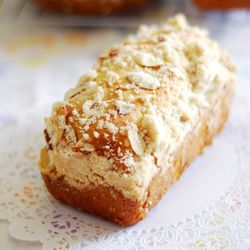 Traditional Polish Easter placek - yeasted bread with plump golden raisins and buttery crumble topping