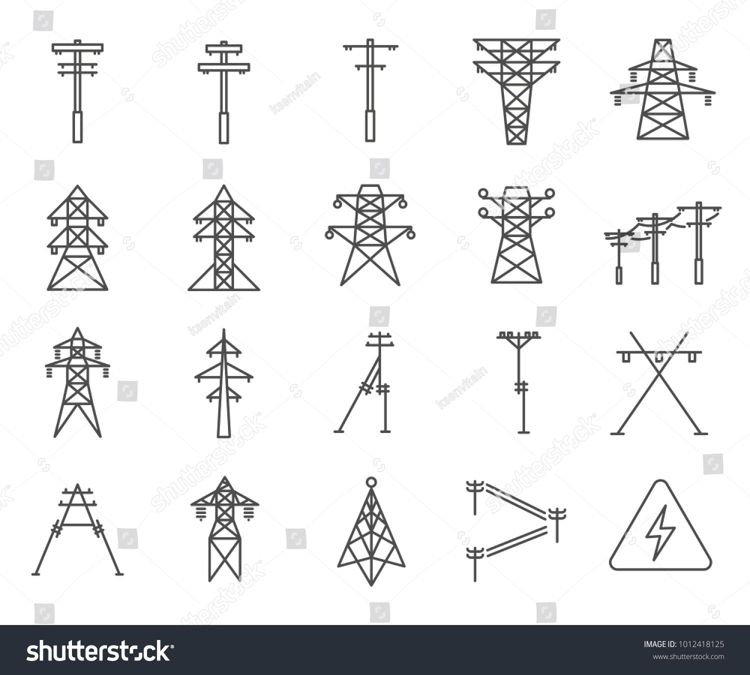Simple Set Of Electric Tower Related Vector Line Icons Contains Such Icons As Electricity Grid Tower Lightning Di Graphic Design Business Electricity Tower