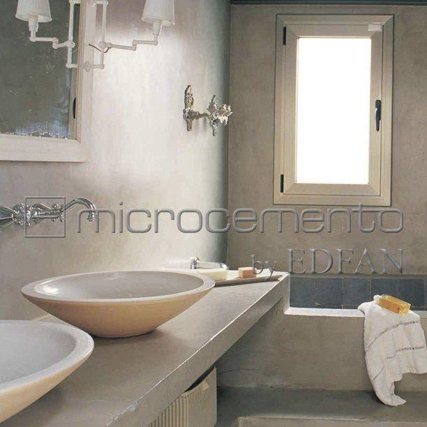 Paredes y pisos con microcemento edfan ba os pinterest for Pared de bano de concreto encerado