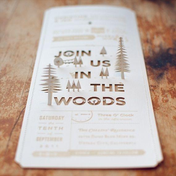 diy woodland wedding invitation