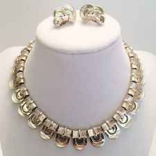 VINTAGE LISNER Demi Parure Art Deco, Scalloped Set, Silver Bamboo Necklace Ear