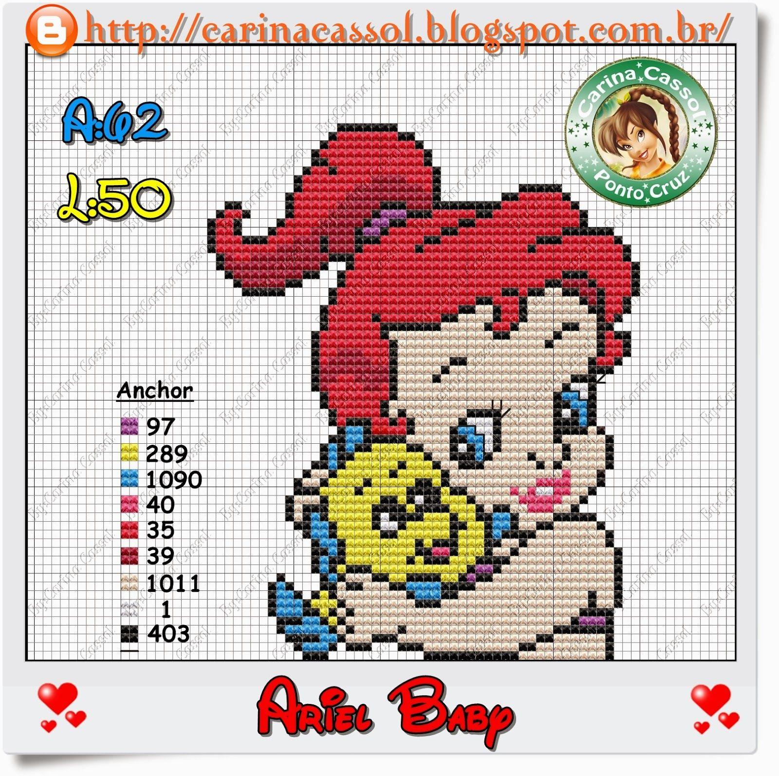 Baby Ariel perler bead pattern by Carina Cassol - Pontinhos Mágicos ...