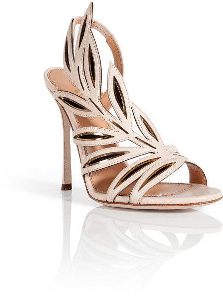 Sergio Rossi Brown Leather Leaf Sandals