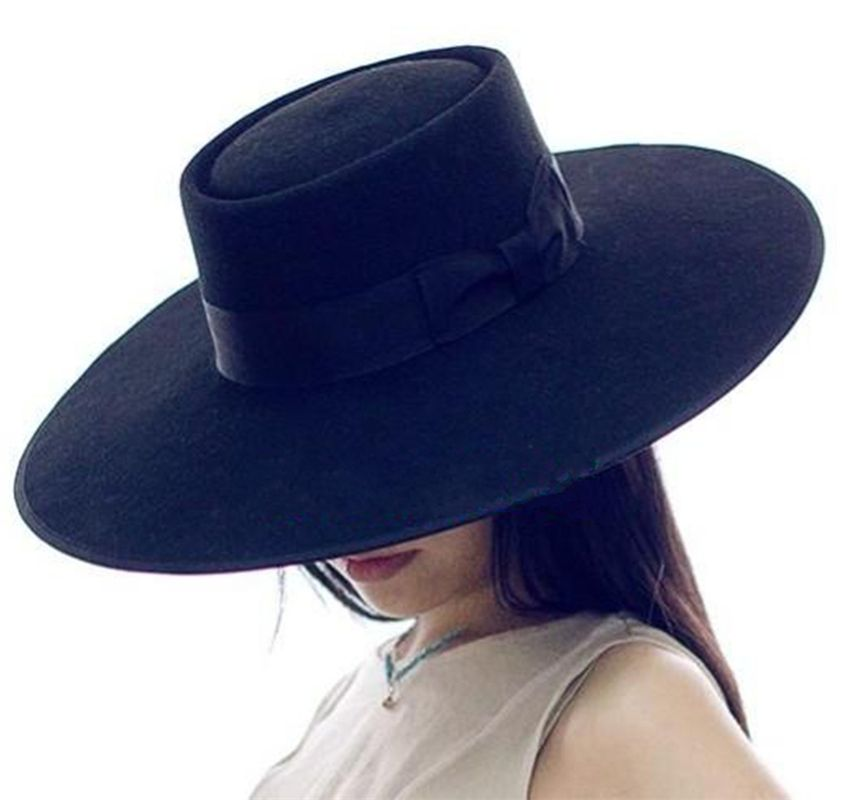 846d6c21239 Black Wool Pork Pie Felt Fedora   Porkpie Wide Brim Floppy Hat 12cm ...