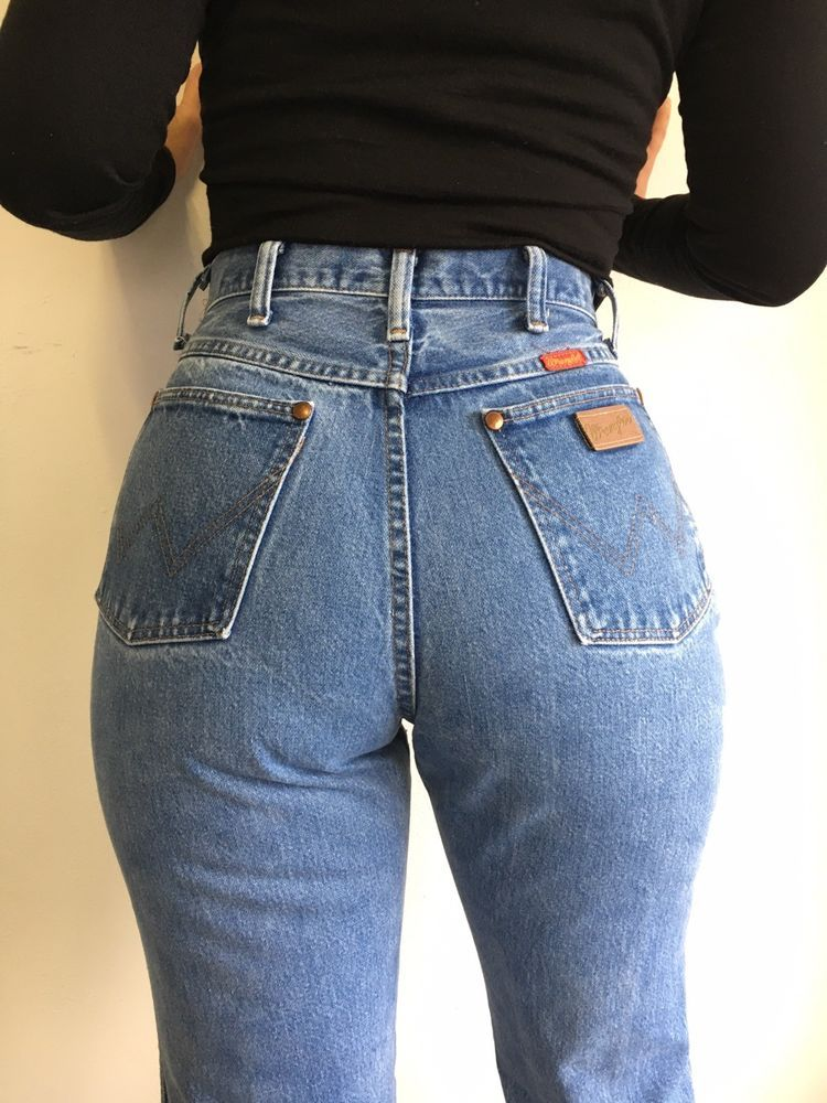 c388ba84b526 Vtg Wrangler Denim Jeans 80s High Waist Wedgie Fit Mom USA Made 29x33.5  actual #Wrangler #HighWaisted