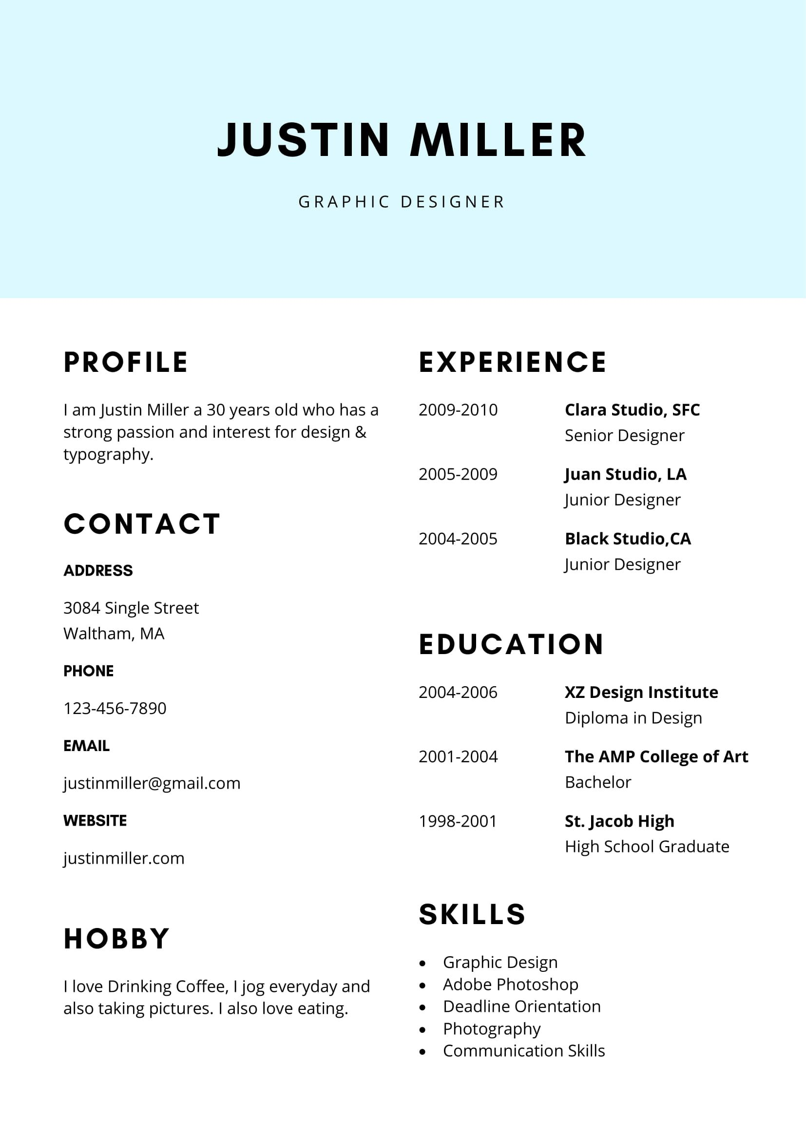 free clean and elegant resume template in ms word format