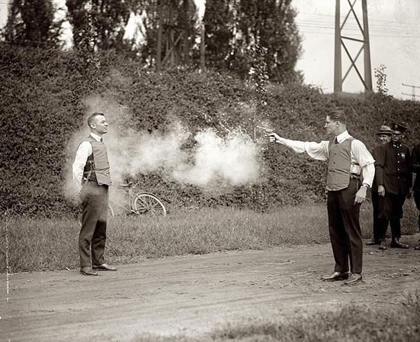 Testing a new vest. United States, 1923