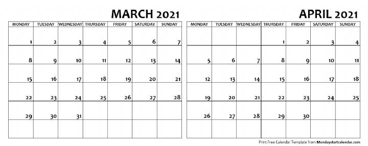 March April 2021 Calendar Monday Start Editable Two Months Template Calendars In 2020 2021 Calendar School Holiday Calendar Calendar