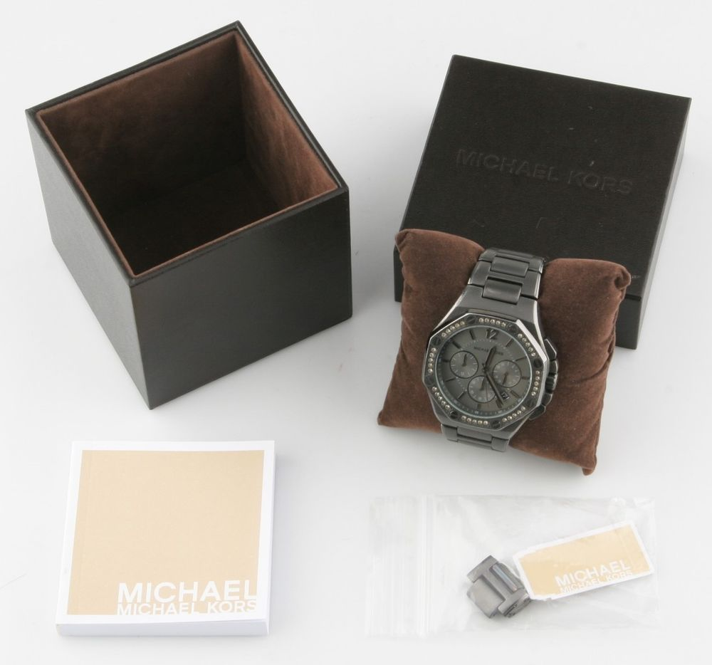 Michael Kors Stainless Steel Gunmetal Chronograph Quartz Men's Watch Box/Papers #MichaelKors #Sport