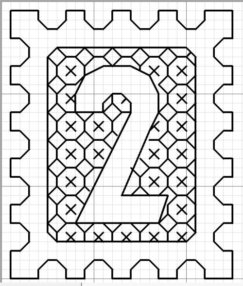 chiffre_timbre_2 | Dessin quadrillage, Dessin géométrique, Point de croix