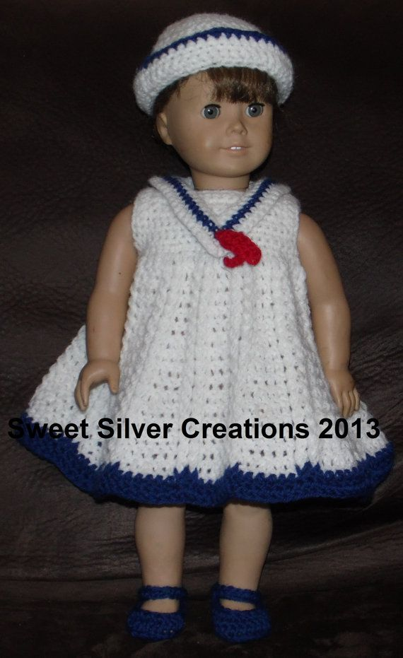 18 inch American Girl Crochet Pattern - Sailor Dress | Pinterest ...