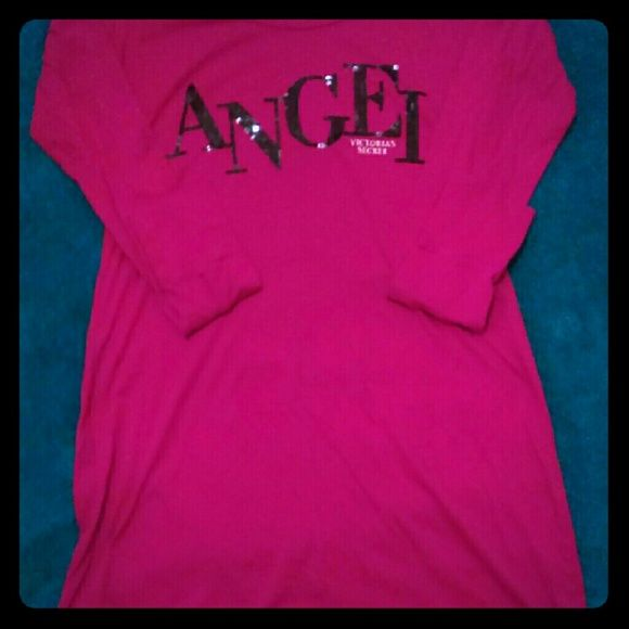 Victoria's Secret cotton nightie size S This is a size small women's cotton nightie from Victoria's Secret. Very comfortable, a little above knee length and long sleeved. Lightweight with black sequin ANGEL detail on front. Victoria's Secret Intimates & Sleepwear Pajamas
