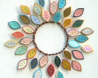"""Photo of Everyday Wreath for Front Door / Modern Wreath with Felt Leaves / All Season Wreath / 16 """"Diameter / HGTV Magazine Featured / Made to Order"""