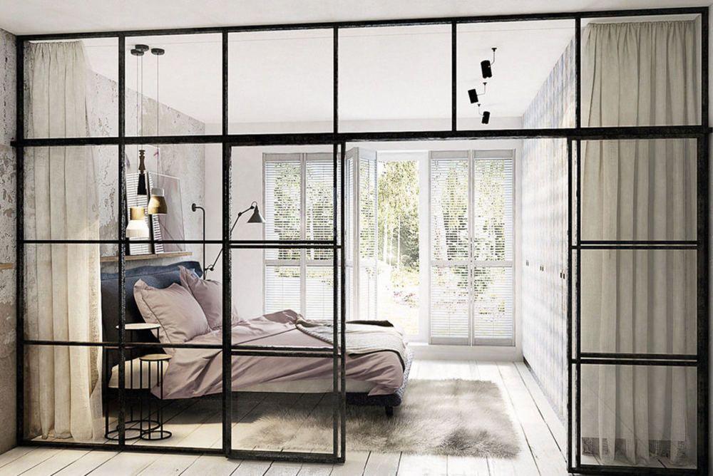 Szklana Scianka Dzialowa We Wnetrzu Pomyslowo I Funkcjonalnie Modern Studio Apartment Ideas Studio Apartment Divider Interior Windows