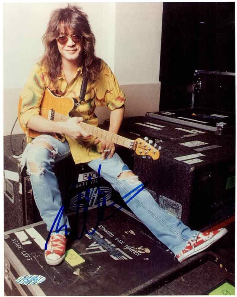 Eddie Van Halen Hand Signed 8x10 Photograph Sports Memorabilia Van Halen Eddie Van Halen Alex Van Halen