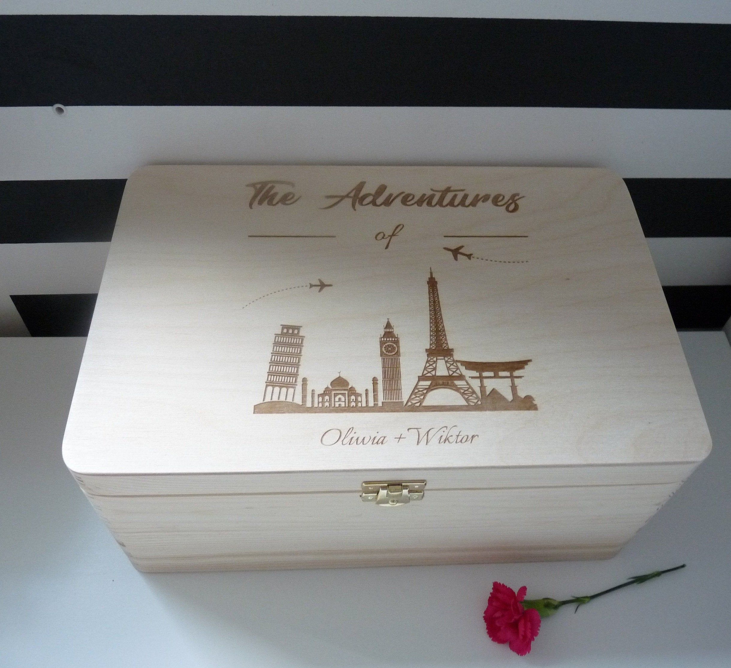 Keepsake Wedding Gifts: Personalised Wooden Keepsake Adventure Travel Memory Box