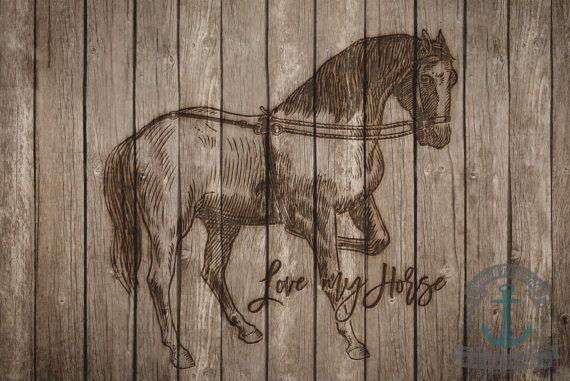 Love My Horse Wood Plank Rustic Wilderness by BrandiFitzgerald