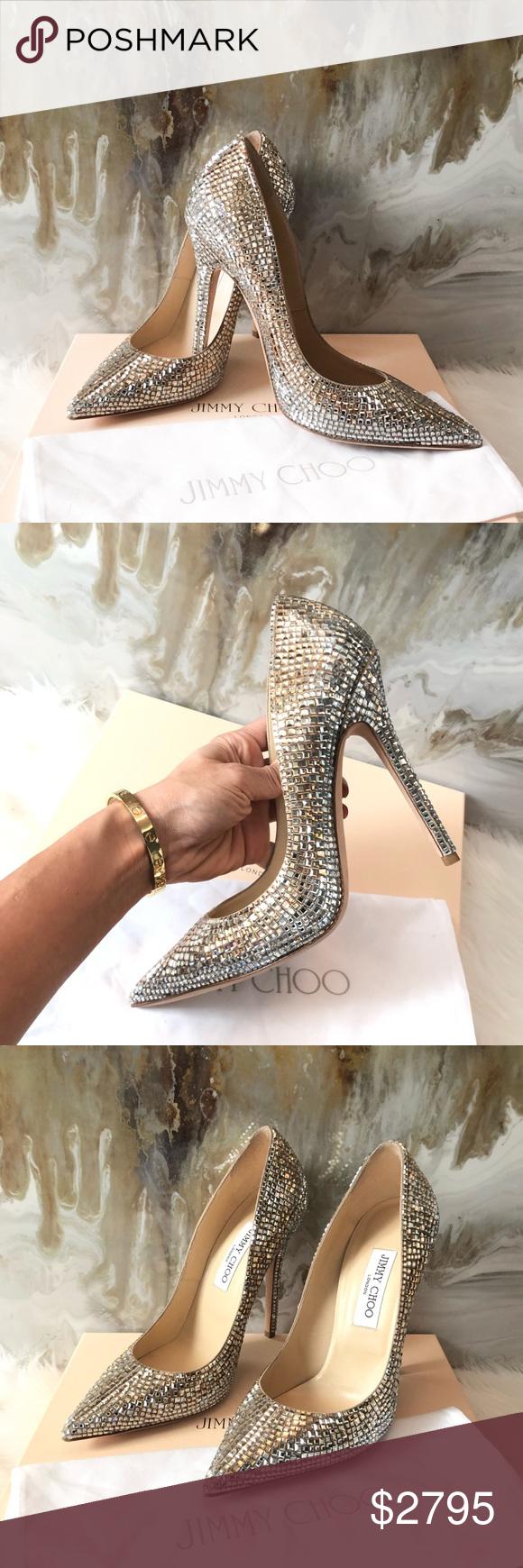 Jimmy Choo Ombre Tartini Swarovski Crystal Heels Pumps Size