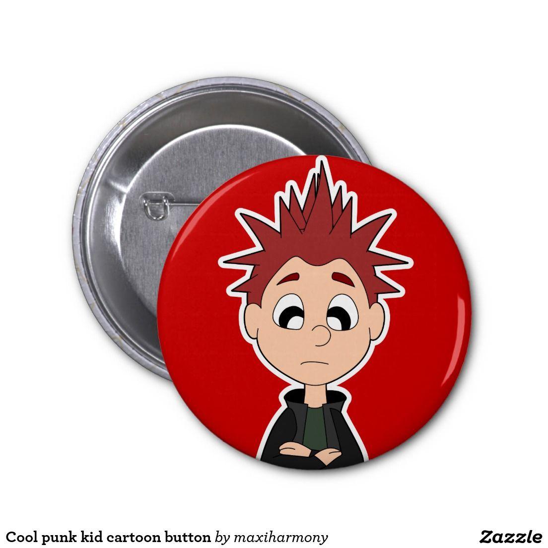 Cool punk kid cartoon button