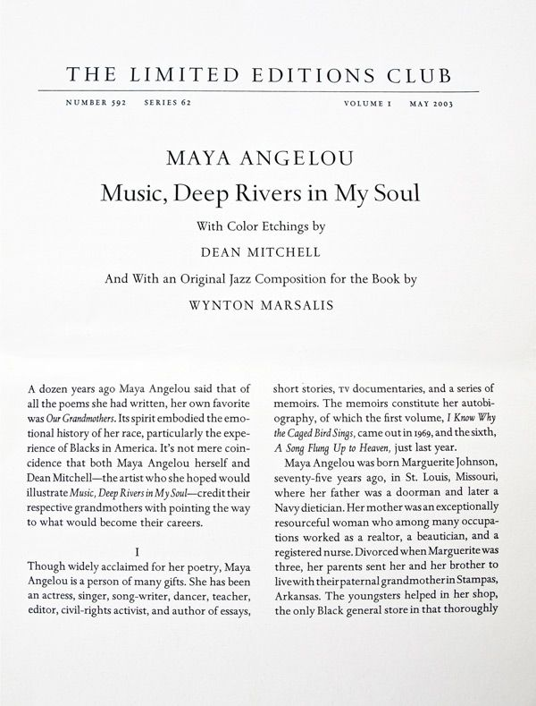 Music Deep River In My Soul Limited Edition Club Essay By Maya Angelou