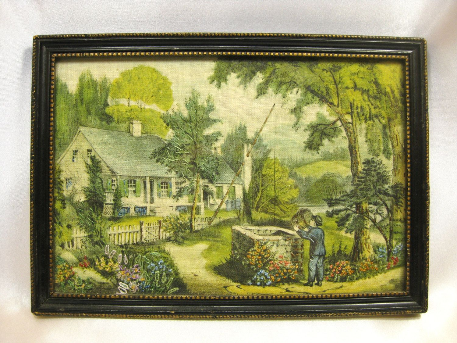 Antique Tapestry 10.5\'\' Vintage Framed Wall Hanging Embroidery ...